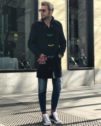 High Top Sneakers Outfits For Men: When the situation calls for an effortlessly smart getup, marry a black duffle coat with blue jeans. For an on-trend mix, complement this outfit with high top sneakers.