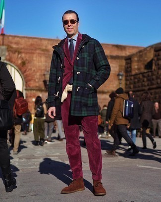 Burgundy Corduroy Suit Outfits: This combination of a burgundy corduroy suit and a navy plaid duffle coat is perfect when you need to look really elegant. Brown suede desert boots can immediately tone down a polished look.