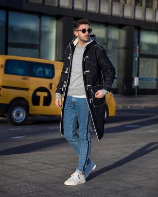 How to wear: charcoal duffle coat, grey sweatshirt, white crew-neck t-shirt, blue jeans