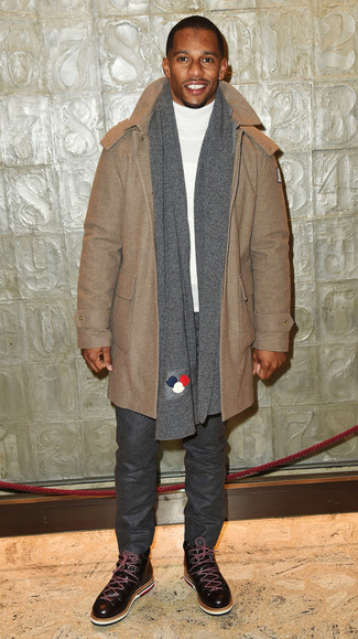 How to wear: camel duffle coat, white turtleneck, charcoal wool chinos, dark brown leather casual boots