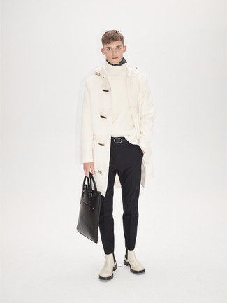 How to Wear a White Wool Turtleneck For Men: Pair a white wool turtleneck with black dress pants to look like a dapper gent. Let your styling chops truly shine by finishing this ensemble with a pair of white leather chelsea boots.