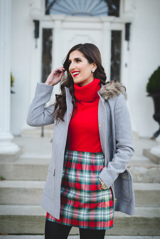 Pair a duffel coat with a red check mini skirt if you're in search of an outfit idea for when you want to look casually cool. On not-so-bone-chilling days, you can wear this summer-to-fall outfit and look absolutely amazing.