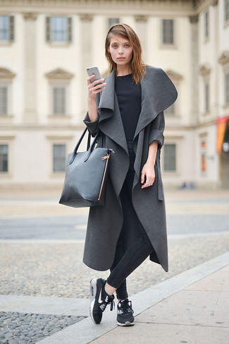 A grey duster coat and black slim jeans will give off this very sexy and chic vibe. Why not add black athletic shoes to the mix for a more relaxed feel?