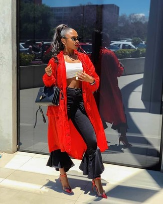 How to wear: red duster coat, white cropped top, black flare jeans, red leather pumps