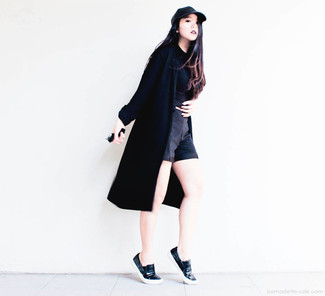 Women's Black Duster Coat, Black Cropped Top, Black Shorts, Black Leather Slip-on Sneakers