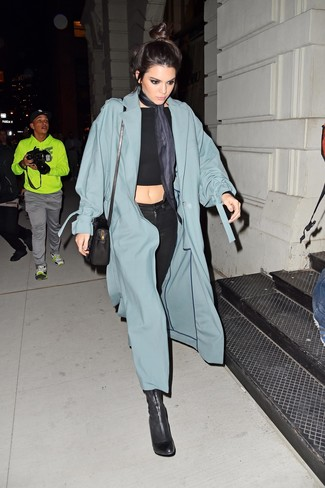 How to wear: teal duster coat, black cropped top, black skinny jeans, black leather ankle boots