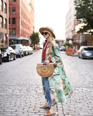 How to wear: green floral duster coat, red dress shirt, blue ripped boyfriend jeans, tan suede flat sandals