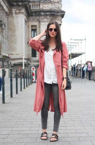 How to wear: pink duster coat, white dress shirt, charcoal skinny jeans, black leather flat sandals