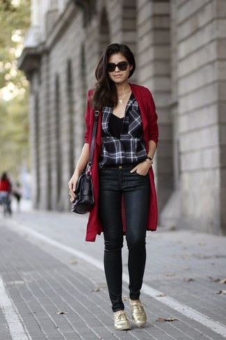 How to wear: burgundy duster coat, black and white plaid dress shirt, black tank, black leather skinny jeans