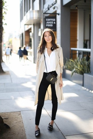 How to wear: beige duster coat, white silk long sleeve blouse, black skinny jeans, black leather loafers