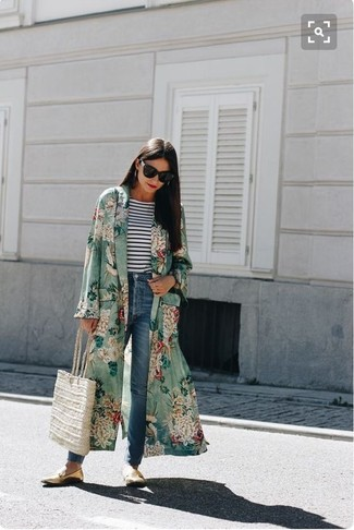 How to wear: green floral duster coat, white and navy horizontal striped long sleeve t-shirt, blue jeans, gold leather loafers