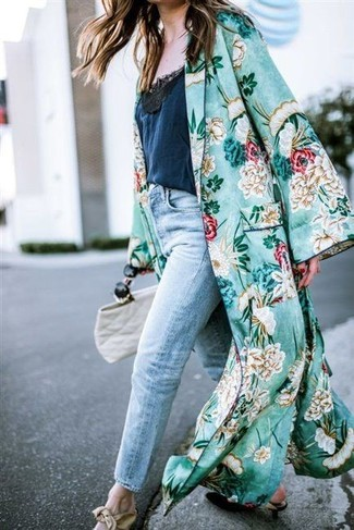 Go for a green floral duster coat and a Valentino Medium Rockstud Vitello Leather Tote Ivory and you'll look like a total babe. Add black leather pumps to your ensemble for an instant style upgrade. We love that this ensemble is great when warmer days are here.