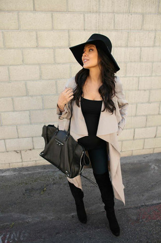 Wear a Boohoo Erica Waterfall Suedette Jacket and black leather leggings for a relaxed take on day-to-day wear. Rocking a pair of black suede over the knee boots is an easy way to add some flair to your look. This combo is great for awkward fall weather.