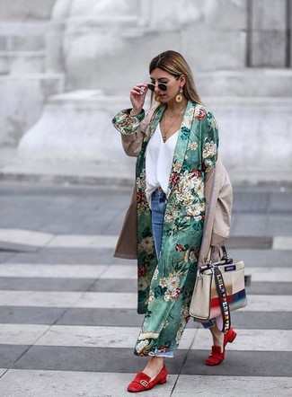 How to wear: green floral duster coat, beige trenchcoat, white silk tank, blue ripped boyfriend jeans