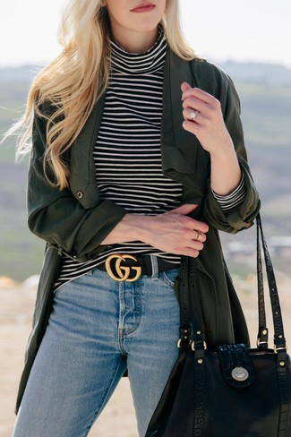 How to wear: dark green duster coat, black and white horizontal striped turtleneck, light blue jeans, black leather tote bag