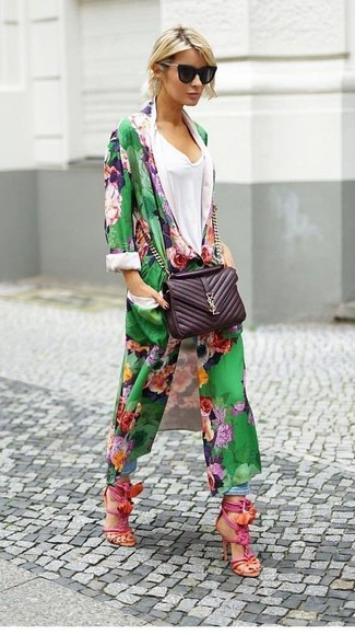 How to wear: green floral duster coat, white v-neck t-shirt, light blue boyfriend jeans, hot pink leather heeled sandals