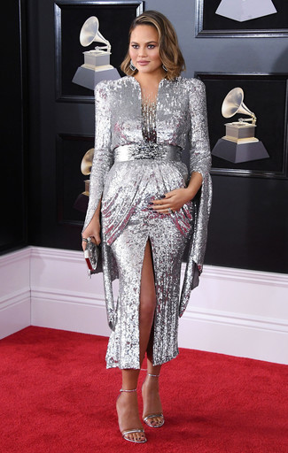 How to wear: silver sequin evening dress, silver leather heeled sandals, silver clutch, silver earrings