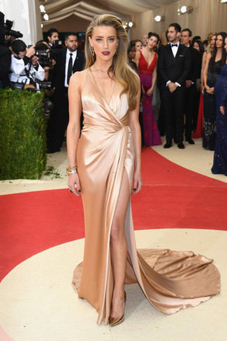 How to wear: gold silk evening dress, gold leather pumps, gold bracelet, gold earrings
