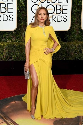 How to wear: yellow evening dress, silver sequin pumps, silver sequin clutch, clear necklace