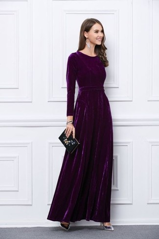 Wear a purple velvet evening dress and you'll look stunning anywhere anytime. Silver leather pumps will add a new dimension to an otherwise classic look.