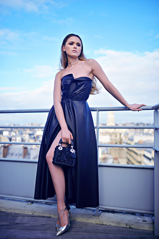How to wear: navy slit silk evening dress, silver leather pumps, navy embellished leather clutch, clear necklace