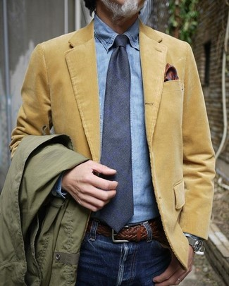 How to wear: olive field jacket, tan corduroy blazer, light blue denim shirt, blue jeans