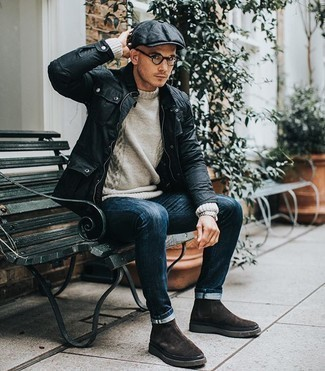 Black Flat Cap Outfits For Men: A black field jacket and a black flat cap are a good combination to have in your casual sartorial collection. A pair of dark brown suede chelsea boots will put an elegant spin on this getup.