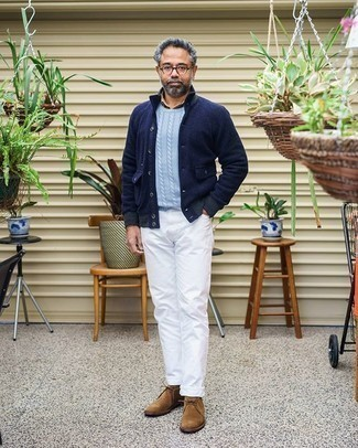 White Jeans Outfits For Men: Why not go for a navy wool field jacket and white jeans? As well as totally comfortable, these two pieces look good combined together. A pair of brown suede desert boots acts as the glue that will bring your getup together.