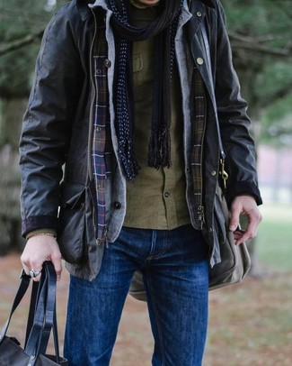 How to wear: black field jacket, grey cardigan, olive long sleeve shirt, blue jeans