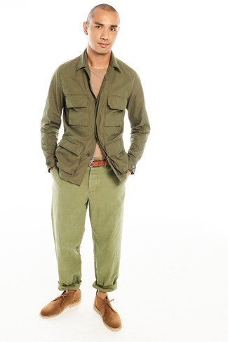 Men's Olive Field Jacket, Tan Crew-neck Sweater, Olive Chinos, Tan Suede Desert Boots