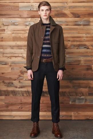 Distressed Leather Work Belt Brown