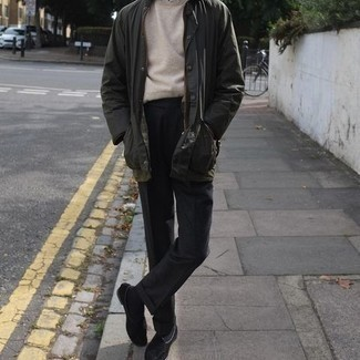 Black Crew-neck Sweater Outfits For Men: This combination of a black crew-neck sweater and black dress pants is a surefire option when you need to look like a true expert in men's style. For extra style points, introduce a pair of black suede loafers to the mix.