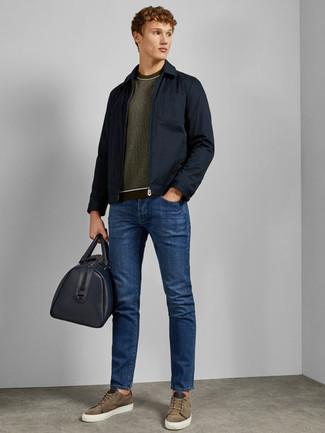 How to Wear Olive Suede Low Top Sneakers For Men: Rock a navy field jacket with blue jeans to pull together a seriously stylish and modern-looking off-duty outfit. Olive suede low top sneakers look perfect completing this getup.
