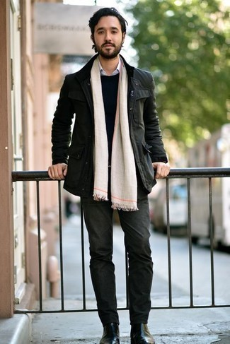 Men's Looks & Outfits: What To Wear In 2020: To don a laid-back outfit with a modern finish, you can rock a dark green field jacket and dark green jeans. To add a bit of fanciness to your look, introduce black leather chelsea boots to this look.