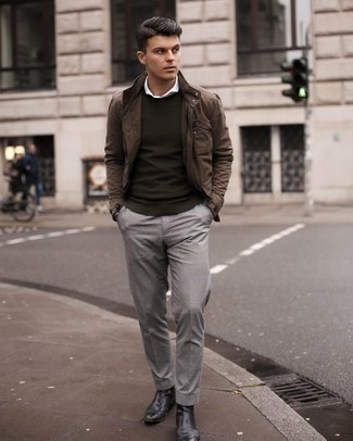 White Long Sleeve Shirt Outfits For Men: A white long sleeve shirt and grey chinos are the kind of a fail-safe casual combination that you need when you have zero time to dress up. Dial up the cool of your ensemble by wearing a pair of black leather chelsea boots.