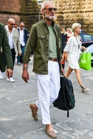 Men's Looks & Outfits: What To Wear In Spring: An olive field jacket and white chinos are a smart combination to have in your day-to-day lineup. Consider brown leather espadrilles as the glue that ties your look together. As you imagine, this is a killer pick when warmer days are here.