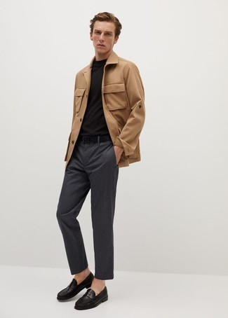 Khaki Field Jacket Outfits: Why not pair a khaki field jacket with charcoal vertical striped chinos? Both of these pieces are super practical and will look nice when worn together. Get a bit experimental with footwear and class up this ensemble by sporting black leather loafers.