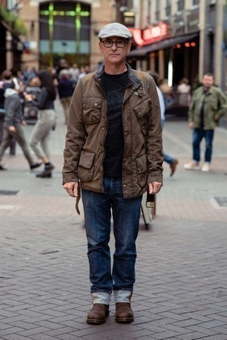 Tobacco Chelsea Boots with Jeans Outfits For Men After 50: For an outfit that's extremely easy but can be modified in a ton of different ways, opt for a dark brown field jacket and jeans. For shoes, stick to the classic route with tobacco chelsea boots. This getup shows that dressing well as a 50-year-old man is not that hard.