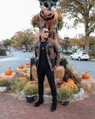 Brown Leather Jacket with Black Pants Outfits For Men: A brown leather jacket and black pants are among the key pieces in any gentleman's functional off-duty sartorial arsenal. If you wish to effortlessly perk up your look with shoes, add a pair of black suede chelsea boots to your ensemble.