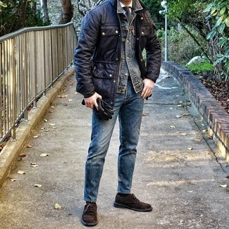 Blue Jeans with White Shirt Outfits For Men: Marrying a white shirt and blue jeans is a guaranteed way to infuse an elegant touch into your styling arsenal. If you want to easily step up this ensemble with one item, introduce dark brown suede brogues to this ensemble.