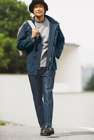 How to Wear a Navy Denim Shirt For Men: For an ensemble that's pared-down but can be styled in a multitude of different ways, rock a navy denim shirt with navy chinos. Complete your ensemble with a pair of black leather desert boots and you're all done and looking amazing.