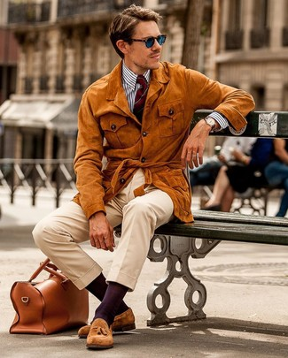 How to Wear Blue Sunglasses For Men: If you're a fan of comfort dressing when it comes to fashion, you'll love this city casual combo of a tobacco suede field jacket and blue sunglasses. Tobacco suede tassel loafers will give an elegant twist to an otherwise mostly dressed-down getup.