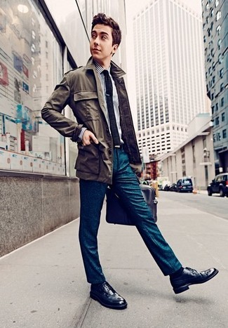 How to wear: olive field jacket, white and navy vertical striped dress shirt, teal dress pants, navy leather brogues