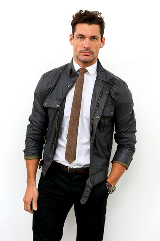 David Gandy wearing Black Field Jacket, White Dress Shirt, Black Jeans, Brown Wool Tie