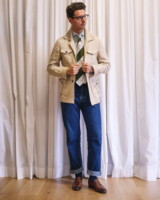 How to wear: beige linen field jacket, white and blue vertical striped dress shirt, blue jeans, brown leather loafers
