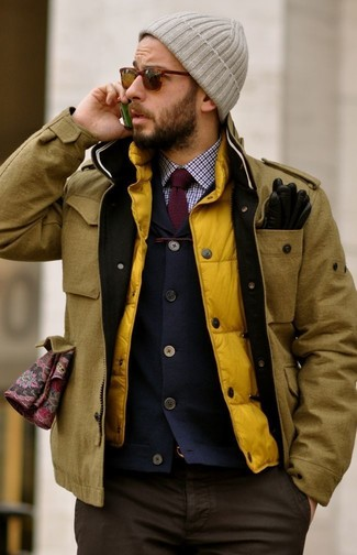 How to wear: mustard field jacket, yellow gilet, navy blazer, white and red and navy gingham dress shirt
