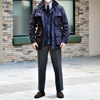 Driving Shoes Outfits For Men: Marrying a navy field jacket with charcoal dress pants is an on-point idea for a stylish and refined look. Complete your getup with driving shoes to make the outfit more practical.
