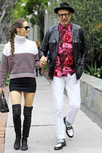 How to wear: black leather field jacket, hot pink floral long sleeve shirt, white chinos, black and white leather loafers