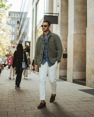 How to wear: olive field jacket, navy chambray long sleeve shirt, white chinos, dark brown suede loafers