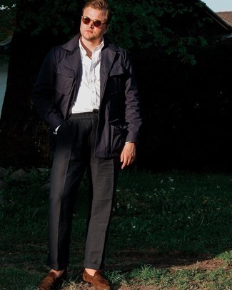 Navy Field Jacket Outfits: For a look that's very easy but can be styled in a great deal of different ways, wear a navy field jacket and black chinos. Tap into some David Beckham dapperness and introduce a pair of brown suede loafers to the equation.